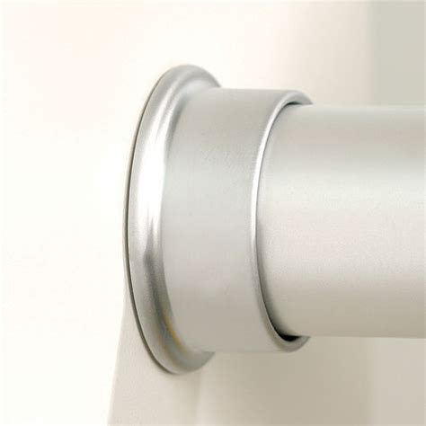 closet rod round closet rod flanges brushed silver set of 2 in