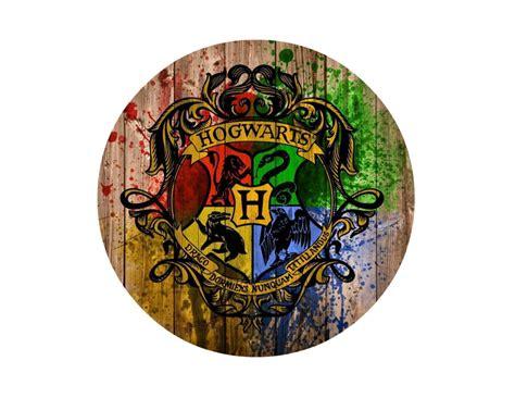 harry potter hogwarts logo on wood background edible icing