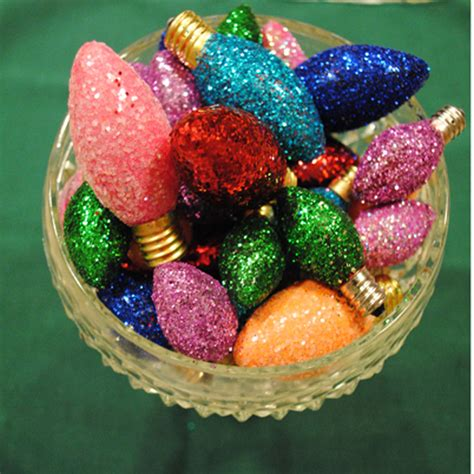 glittered christmas light bulbs craft