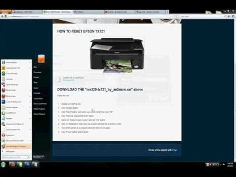 reset epson tx121 manual how to reset epson tx121 printer youtube