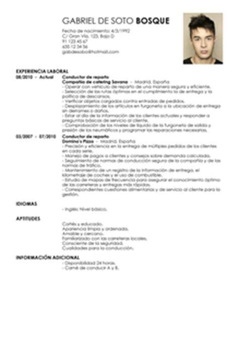 Plantillas De Curriculum Para Personas Experiencia Laboral Modelo De Curr 237 Culum V 237 Tae Conductor De Repartos Conductor De Repartos Cv Plantilla Livecareer