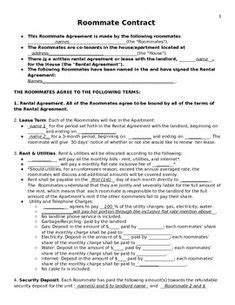 Sle Roommate Contract College Pinterest Roommate College And Dorm College Roommate Contract Template