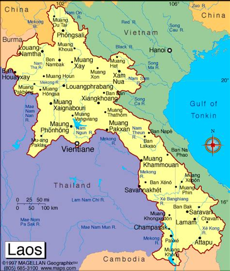 map of laos atlas laos