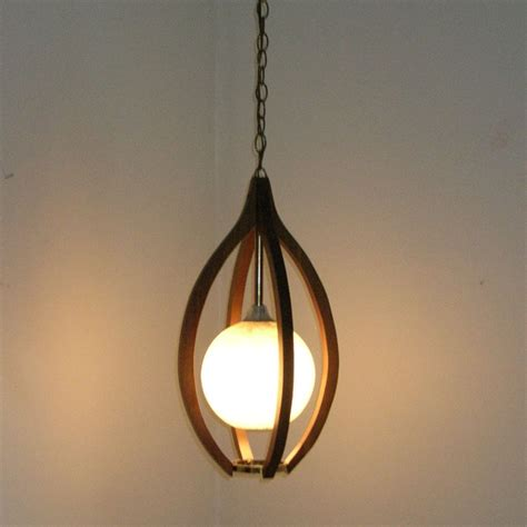 Danish Modern Teak Hanging Swag Lamp Moe Light Fixture Swag Lights