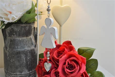 angel decorations for home vintage white wooden angel and heart decoration chicy