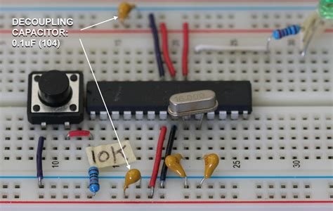 decoupling capacitor for arduino arduino on a breadboard martyn currey
