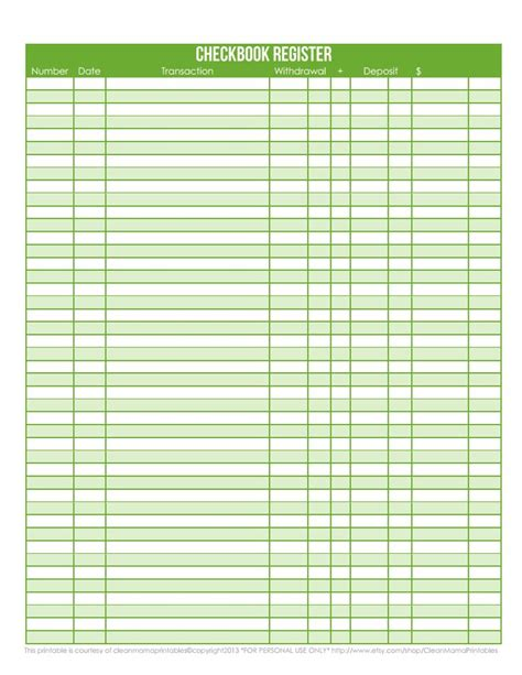 bank register template 7 best images of check register page printable free