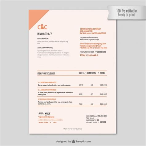invoice design vector invoice template vector free download