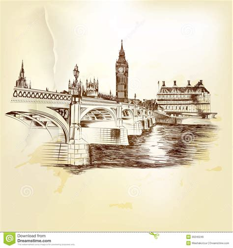 imagenes vintage sepia antique vector postcard with hand drawn london bridge in