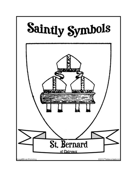 Saintly Symbols of St. Bernard of Clairvaux Coloring Sheet ... V Alphabet Images In Heart