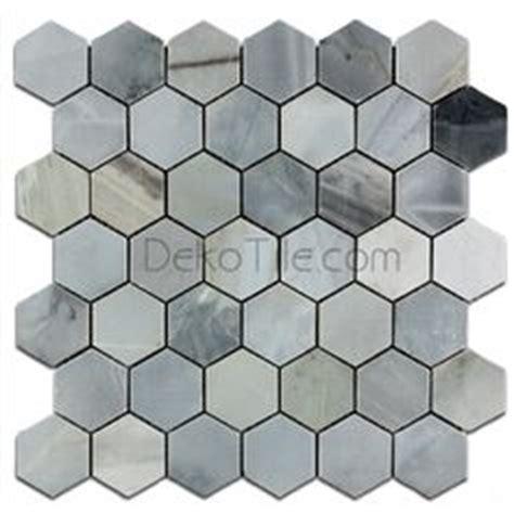 hexagonal 9inchx 3inch whitefriars blue 3 inch hexagon brushed calacatta blue mosaic tile mosaics hexagons and