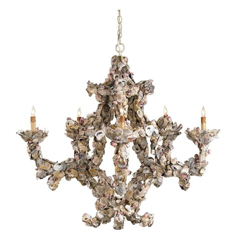 Oyster Chandelier Oyster Shell Nautical 5 Light Chandelier Kathy Kuo Home