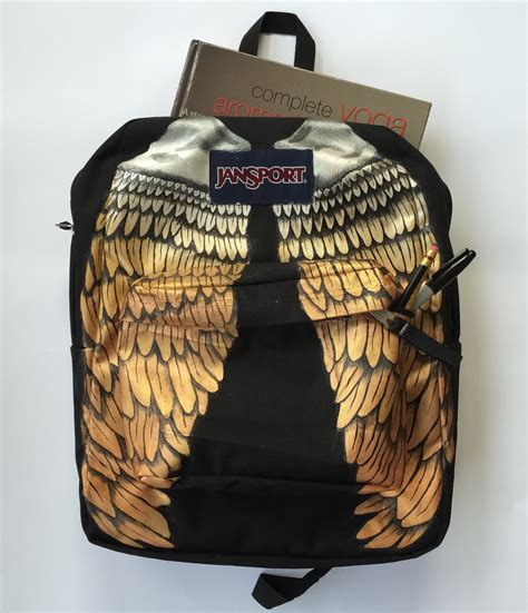 hand painted metallic wings custom jansport backpack