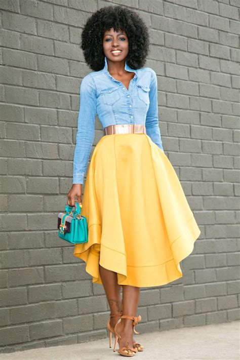 hairstyle that will suit a midi style pantry fitted denim shirt waves midi skirt my