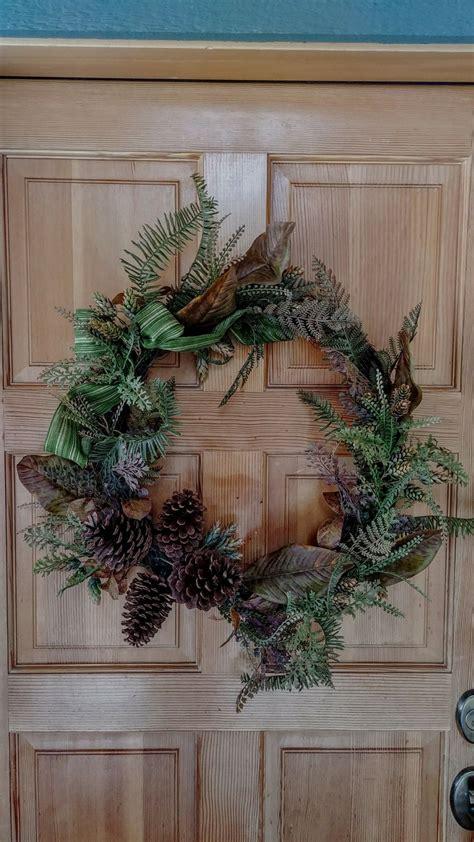 put  pretty wreath   front door pretty wreath