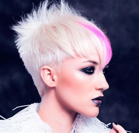 pink platinum blond streaks on short hair platinum with magenta peekaboos hair colors ideas