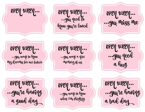 Open When Letters Printable open when printables for a distance jugglemum