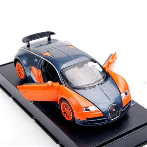 Orange Alloy Bugatti Veyron 1 36 Diecast Plastic Model Car