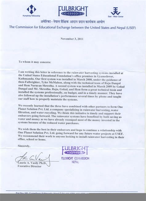 Recommendation Letter For Technical United States Educational Foundation Nepal Rainwater Harvesting System