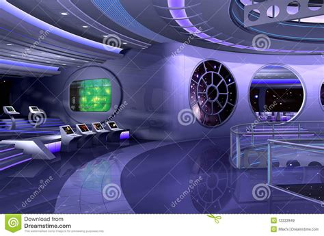 Futuristic Living Room by 3d Spaceship Interior Stock Illustration Image Of