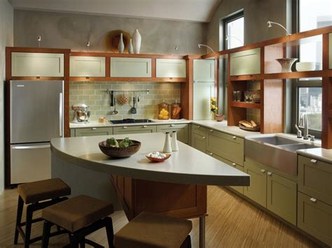 Kraftmaid Kitchen Island by Small Kitchen With Two Tone Cabinets An Open Shelf Above