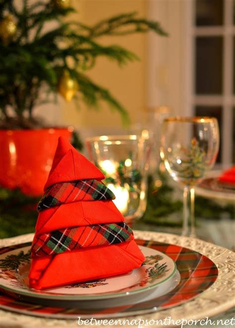 christmas tree napkin fold tutorial mad  plaid