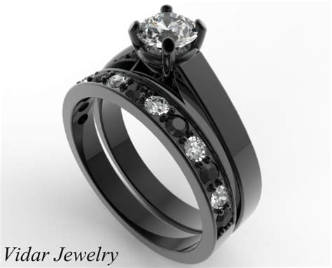 unique alternating black and white wedding ring