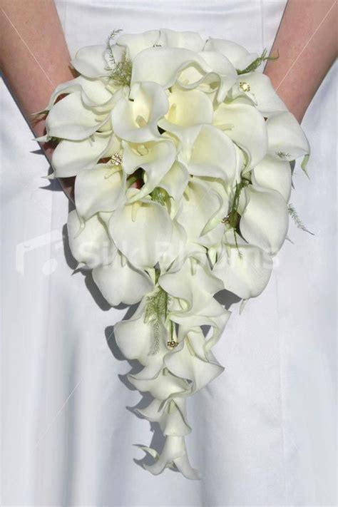 cascading bridal bouquets ivory calla lily fern