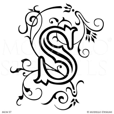 monogram wall art custom lettering stencils modello