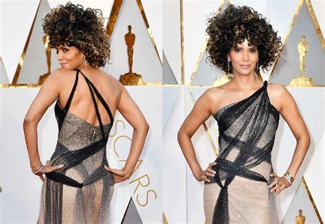 No Halle At The Oscars by Aos 50 Halle Berry Usa Look Semitransparente E Deixa