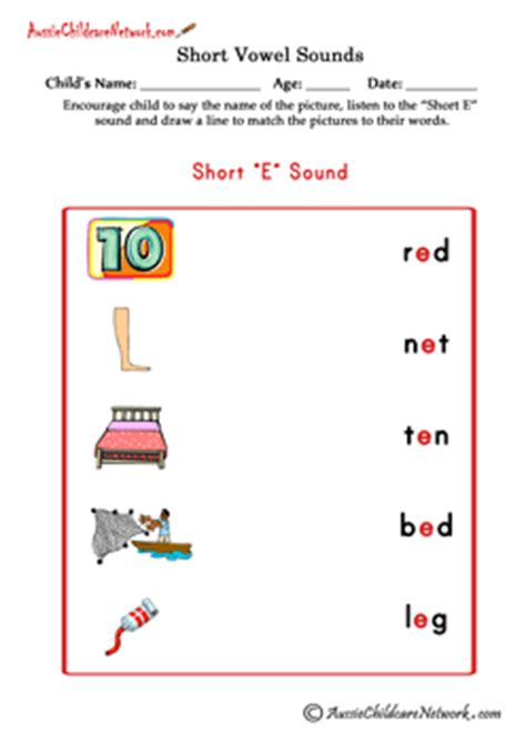 short vowel sounds matching pictures aussie childcare