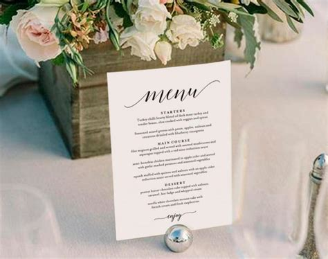 Wedding Menu Template Wedding Menu Printable Wedding Menu Cards Table Menu Menu Sign Table Table Top Menu Template