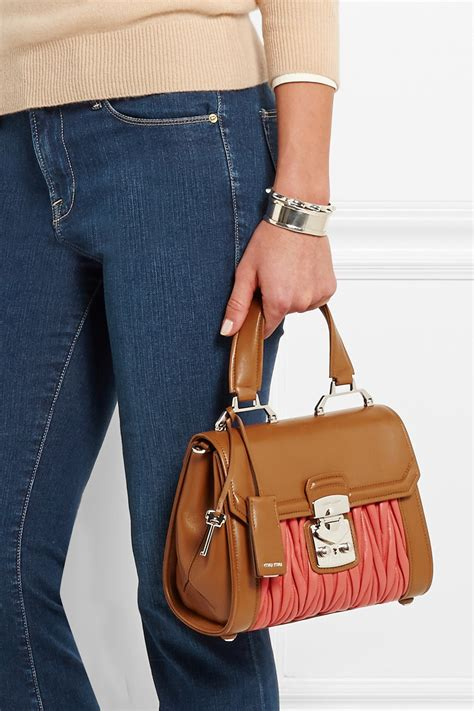 Miu Miu Empire Hitam lyst miu miu two tone matelass 233 leather shoulder bag in brown