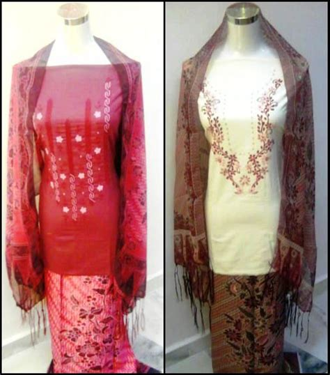 Set Kain Batik Embos 557 cotton sulam kain corak batik blouse chena