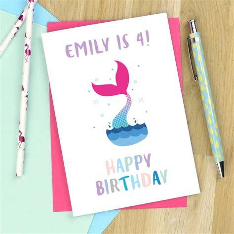Personalised Mermaid Birthday Card personalised mermaid birthday card by pink and turquoise