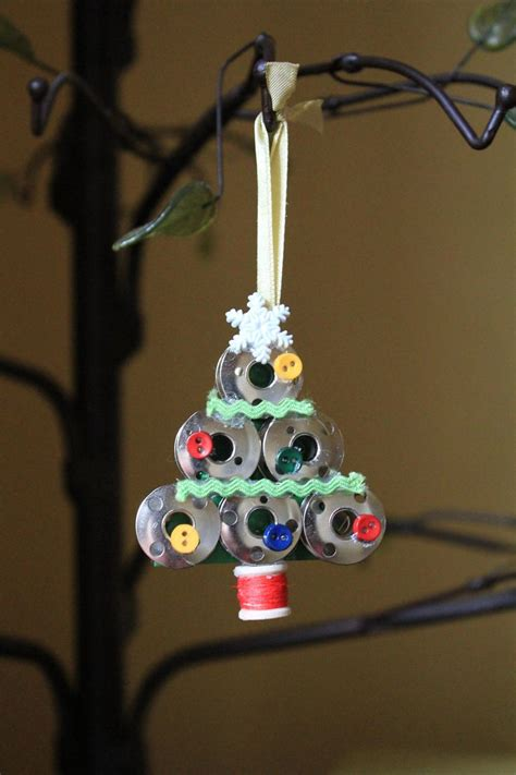 handmade sewing bobbin christmas tree ornament