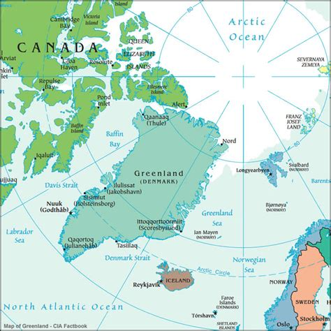 greenland map with cities map of greenland my