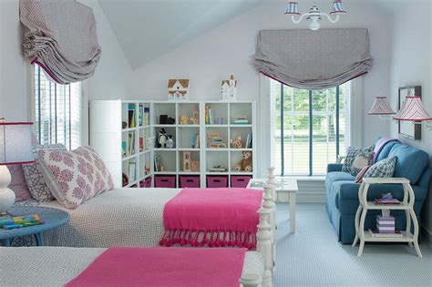 blue and pink girls bedroom interior design inspiration photos by blend interior design