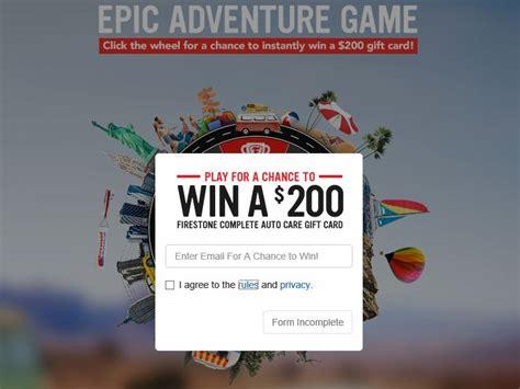 Firestone Complete Auto Care Gift Card - firestone complete auto care epic adventure instant win game