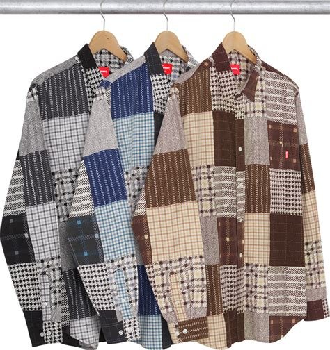Patchwork Flannel - supreme printed patchwork flannel shirt
