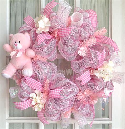 wreath baby shower deco mesh baby wreath pink white baby door hanger baby