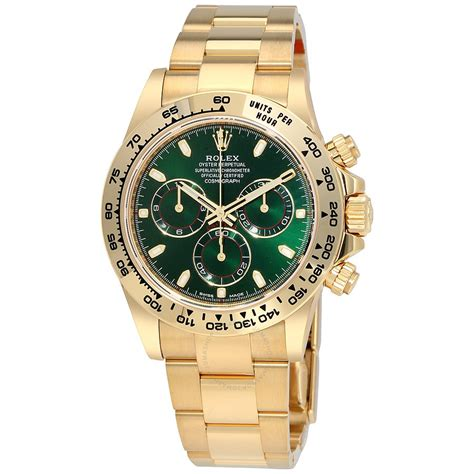 golden rolex rolex cosmograph daytona green dial 18k yellow gold oyster