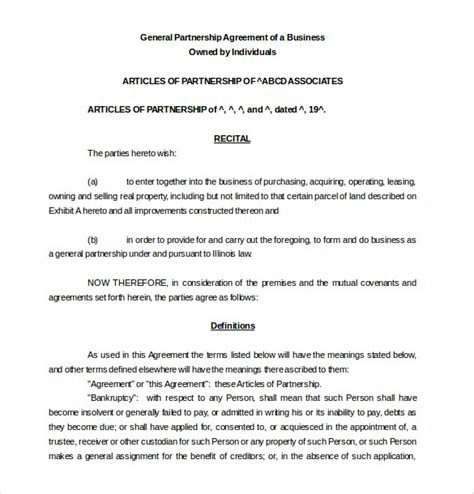 Agreement Letter Of Partnership 12 Partnership Agreement Templates Free Sle Exle Format Free Premium