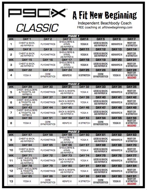p90x workout routine schedule p90x classic schedule a