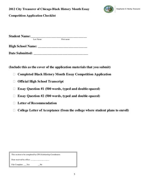 History Essay Contests 2012 by City Treasurer S Black History Month Essay Competition Application 20