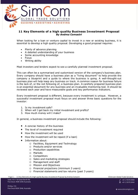 11 Key Elements Of A High Quality Business Investment Proposal Investor Business Template