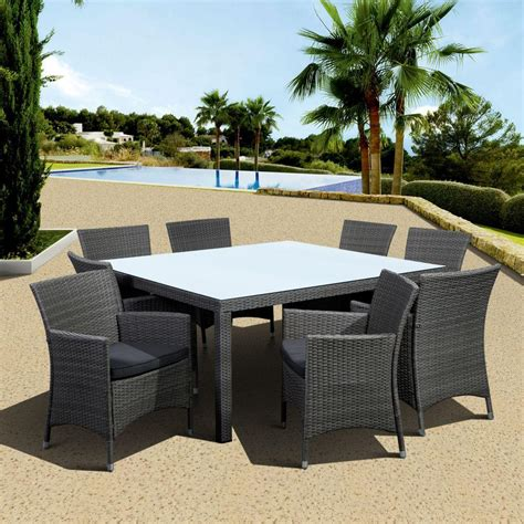 Grey Patio Furniture Atlantic Contemporary Lifestyle Grand New Liberty Deluxe Gray 9 Square All Weather Wicker