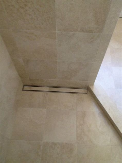 Linear Drain Shower Pan by Linear Drain Makes It So We Can Use Large Format Tile On