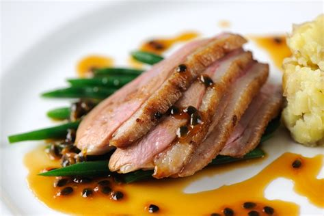 duck and potato food duck breast recipe with fruit sauce great chefs