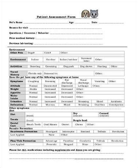 assessment form in pdf sle patient assessment forms 8 free documents in